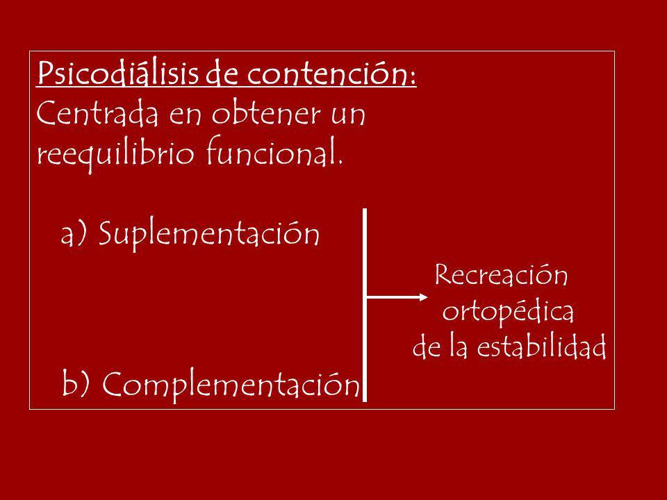 Psicodiálisis de contención: Centrada en obtener un reequilibrio funcional. a) Suplementación Recreación ortopédica de la estabilidad b) Complementaci