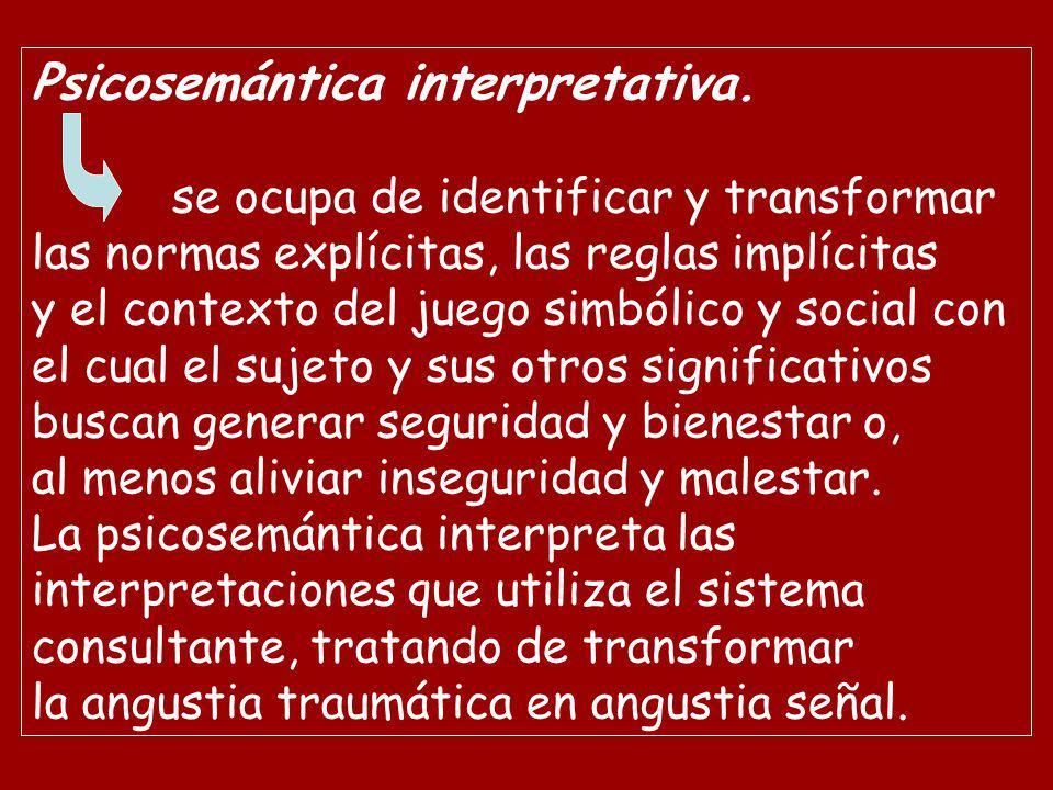 Psicosemántica interpretativa. se ocupa de identificar y transformar las normas explícitas, las reglas implícitas y el contexto del juego simbólico y