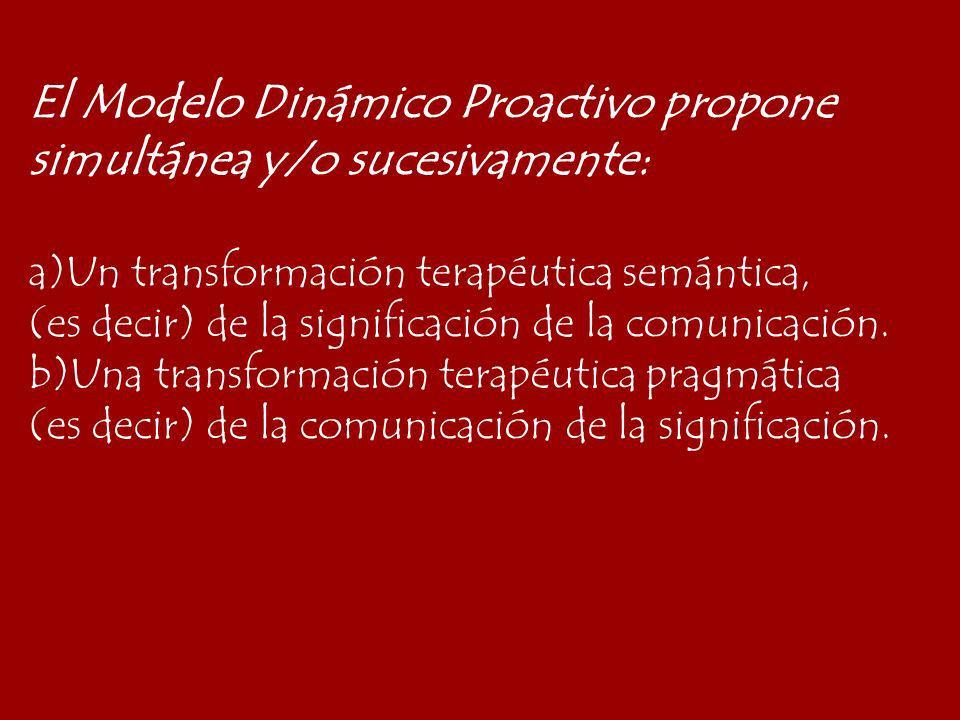 El Modelo Dinámico Proactivo propone simultánea y/o sucesivamente: a)Un transformación terapéutica semántica, (es decir) de la significación de la com
