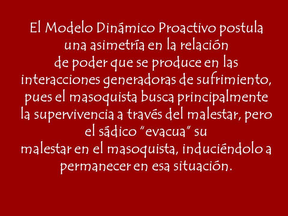El Modelo Dinámico Proactivo postula una asimetría en la relación de poder que se produce en las interacciones generadoras de sufrimiento, pues el mas