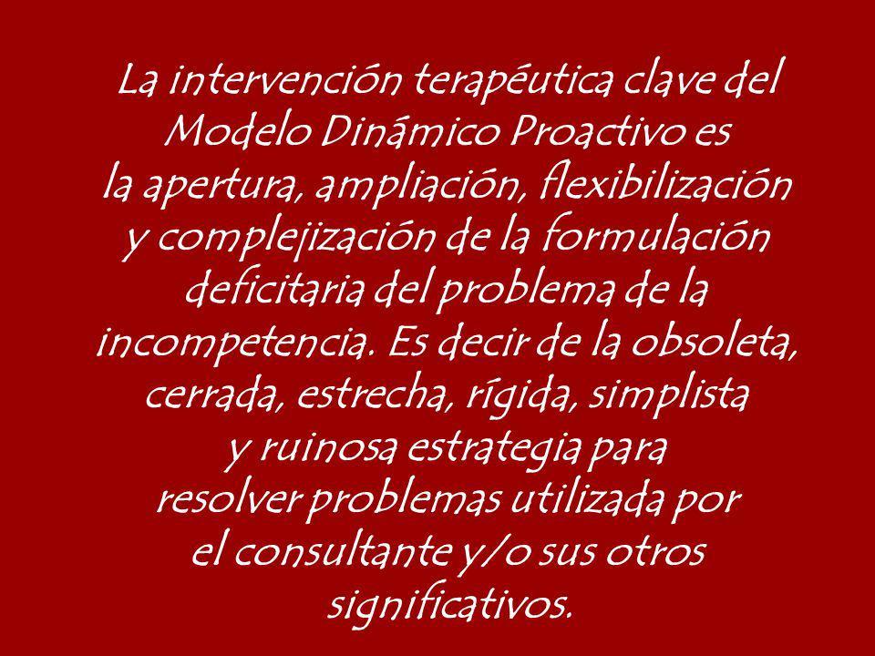 La intervención terapéutica clave del Modelo Dinámico Proactivo es la apertura, ampliación, flexibilización y complejización de la formulación deficit