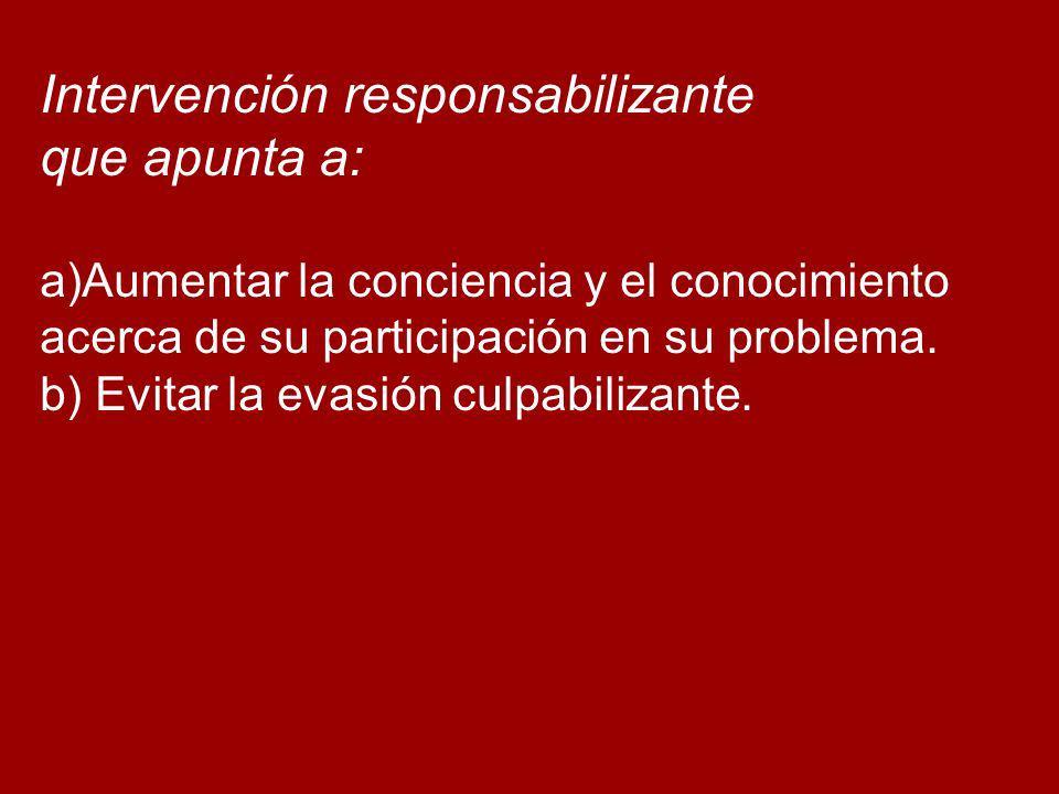 Intervención responsabilizante que apunta a: a)Aumentar la conciencia y el conocimiento acerca de su participación en su problema. b) Evitar la evasió