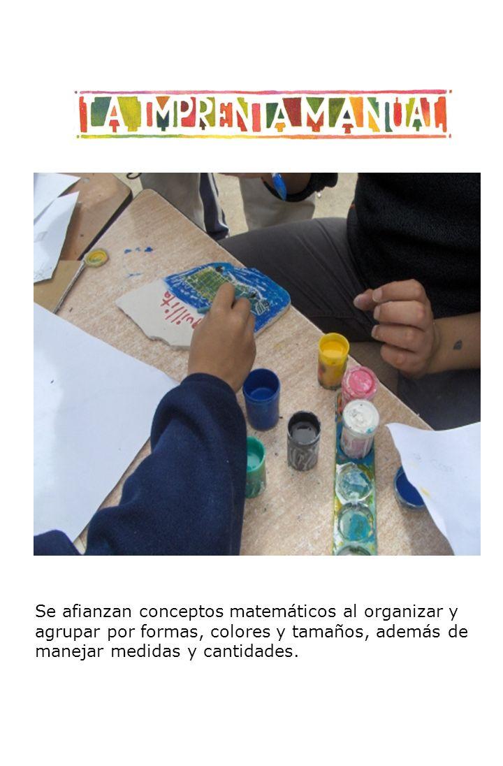 Se afianzan conceptos matemáticos al organizar y agrupar por formas, colores y tamaños, además de manejar medidas y cantidades.
