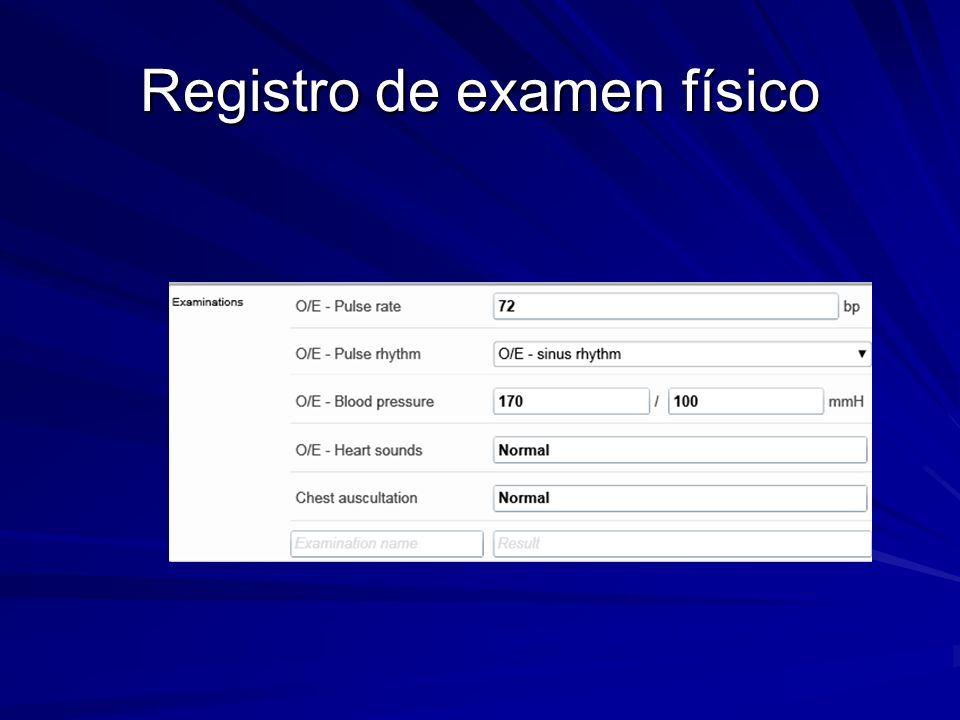 Registro de examen físico