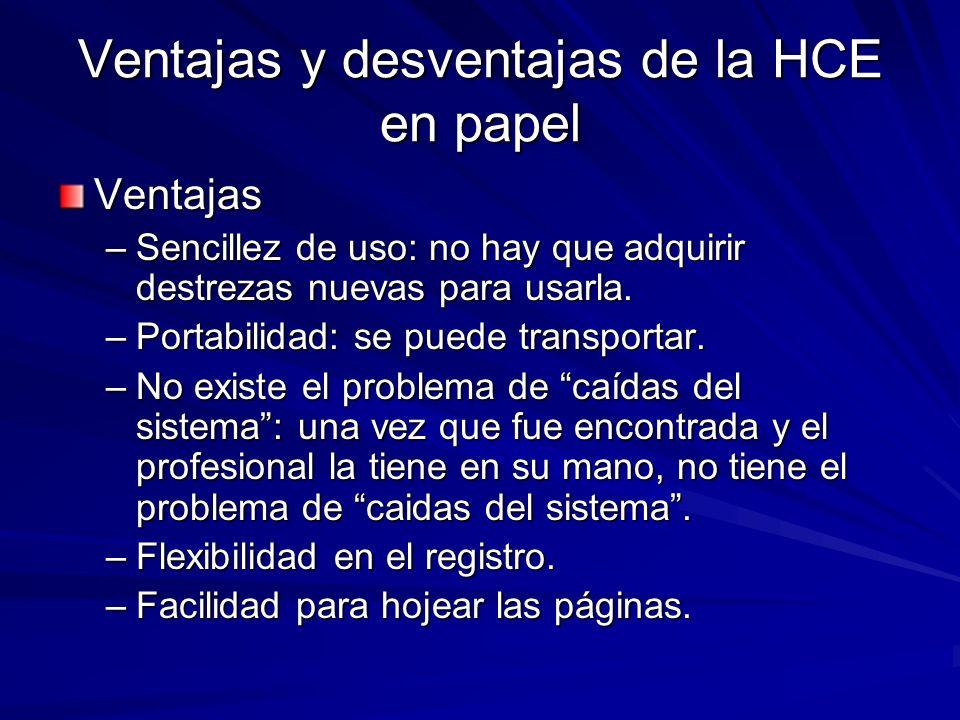 Ventajas y desventajas de la HCE en papel Ventajas –Sencillez de uso: no hay que adquirir destrezas nuevas para usarla. –Portabilidad: se puede transp