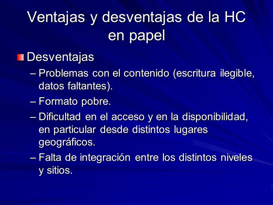 Ventajas y desventajas de la HC en papel Desventajas –Problemas con el contenido (escritura ilegible, datos faltantes). –Formato pobre. –Dificultad en