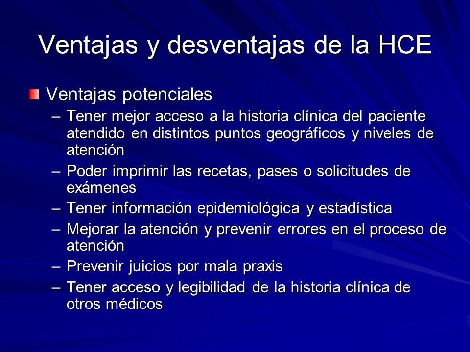 Ventajas y desventajas de la HCE Ventajas potenciales –Tener mejor acceso a la historia clínica del paciente atendido en distintos puntos geográficos