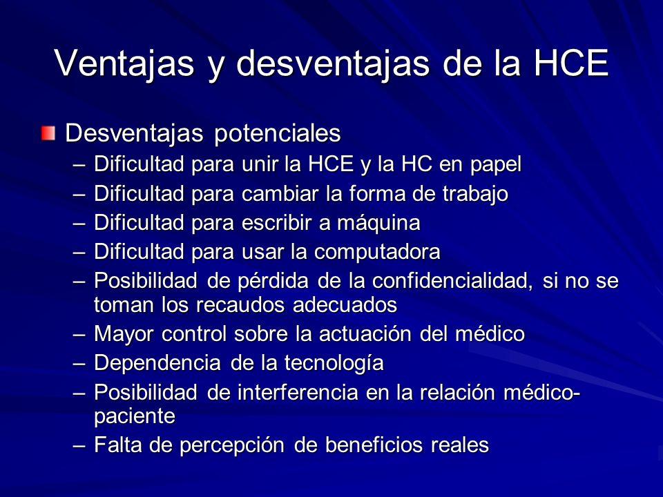 Ventajas y desventajas de la HCE Desventajas potenciales –Dificultad para unir la HCE y la HC en papel –Dificultad para cambiar la forma de trabajo –D
