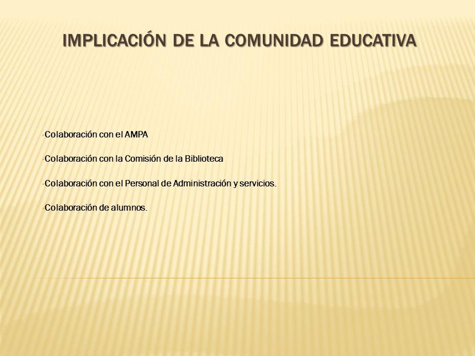 IMPLICACIÓN DE LA COMUNIDAD EDUCATIVA Colaboración con el AMPA Colaboración con la Comisión de la Biblioteca Colaboración con el Personal de Administr
