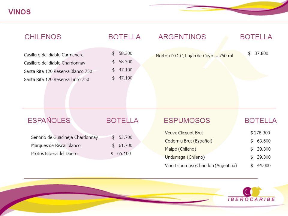 VINOS CHILENOSBOTELLA ESPAÑOLES BOTELLA Casillero del diablo Carmenere Casillero del diablo Chardonnay Santa Rita 120 Reserva Blanco 750 Santa Rita 12
