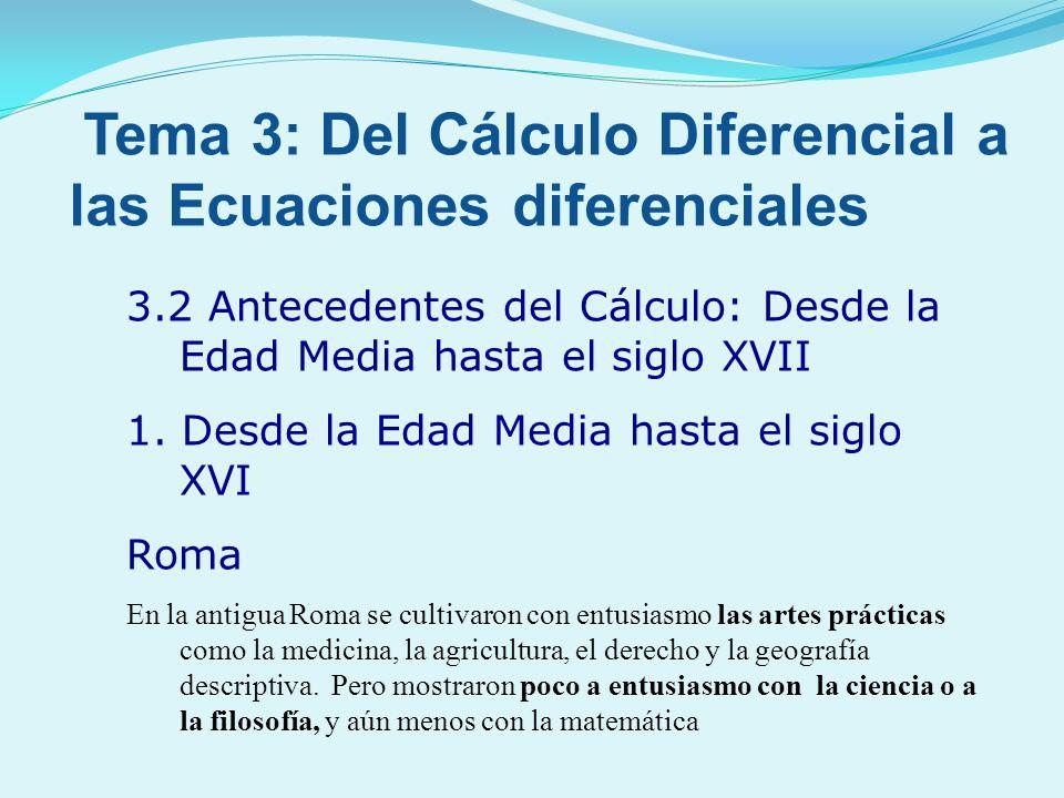 3.2 Antecedentes del Cálculo: Desde la Edad Media hasta el siglo XVII 1. Desde la Edad Media hasta el siglo XVI Roma En la antigua Roma se cultivaron