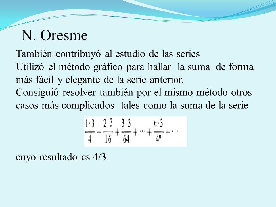 También contribuyó al estudio de las series Utilizó el método gráfico para hallar la suma de forma más fácil y elegante de la serie anterior. Consigui