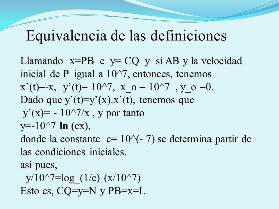 Llamando x=PB e y= CQ y si AB y la velocidad inicial de P igual a 10^7, entonces, tenemos x(t)=-x, y(t)= 10^7, x_o = 10^7, y_o =0. Dado que y(t)=y(x).