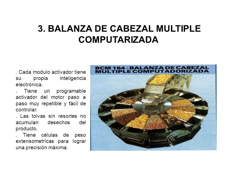 3. BALANZA DE CABEZAL MULTIPLE COMPUTARIZADA. Cada modulo activador tiene su propia inteligencia electrónica.. Tiene un programable activador del moto