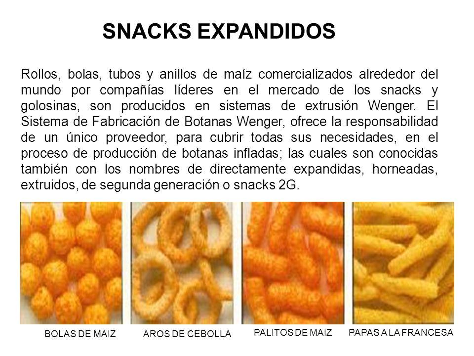 Rollos, bolas, tubos y anillos de maíz comercializados alrededor del mundo por compañías líderes en el mercado de los snacks y golosinas, son producid