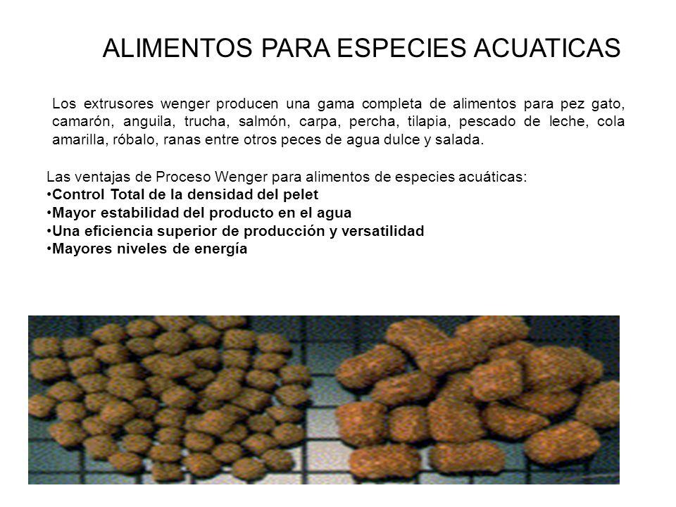 ALIMENTOS PARA ESPECIES ACUATICAS Los extrusores wenger producen una gama completa de alimentos para pez gato, camarón, anguila, trucha, salmón, carpa