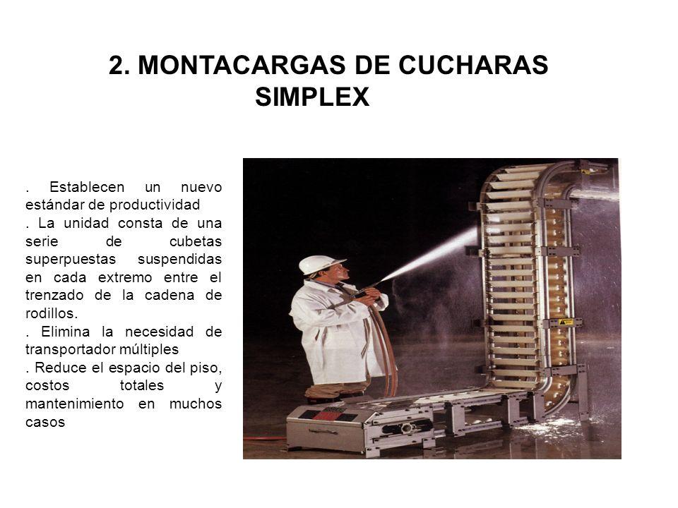 2. MONTACARGAS DE CUCHARAS SIMPLEX. Establecen un nuevo estándar de productividad. La unidad consta de una serie de cubetas superpuestas suspendidas e