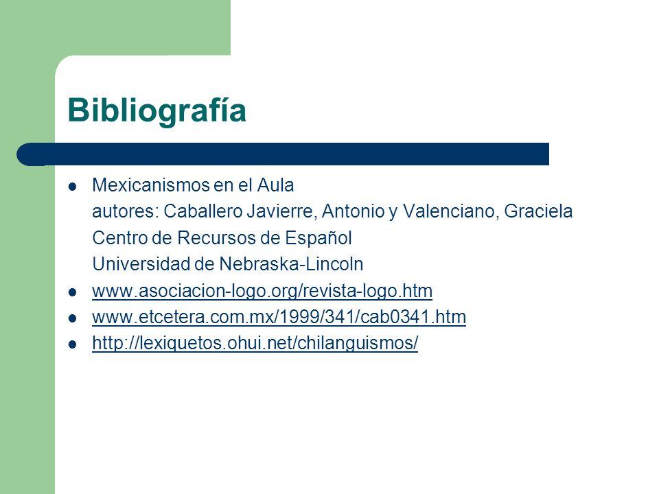 Bibliografía Mexicanismos en el Aula autores: Caballero Javierre, Antonio y Valenciano, Graciela Centro de Recursos de Español Universidad de Nebraska