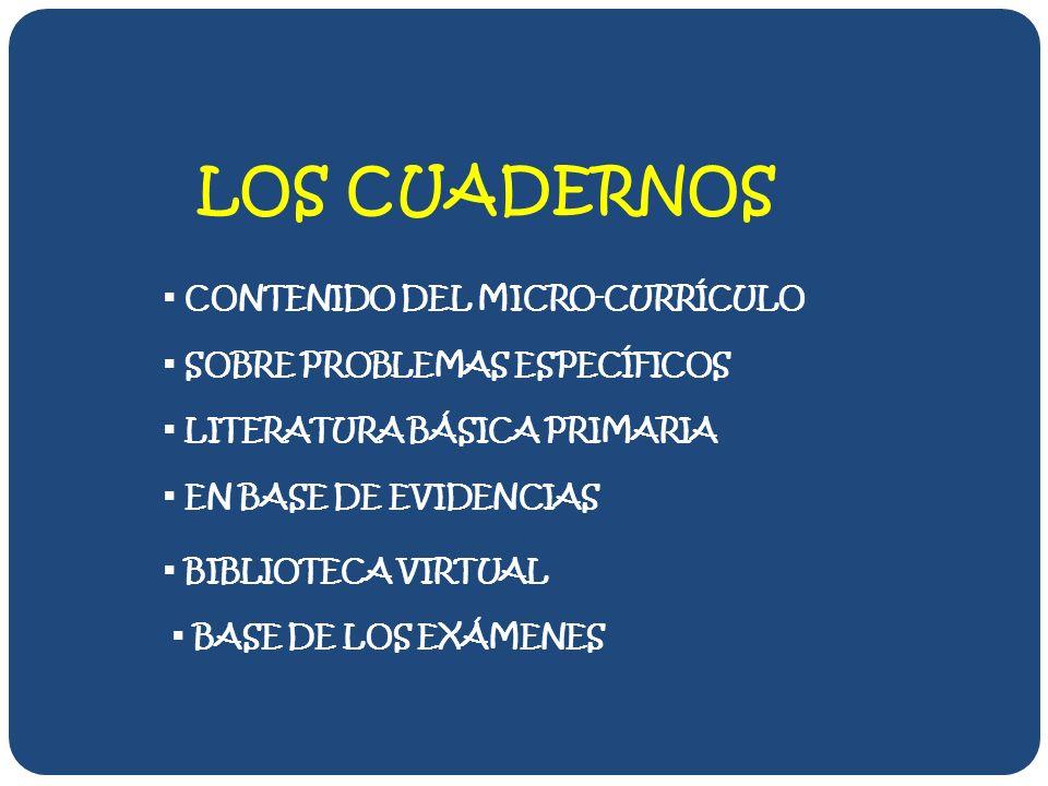 LOS CUADERNOS SOBRE PROBLEMAS ESPECÍFICOS LITERATURA BÁSICA PRIMARIA BASE DE LOS EXÁMENES BIBLIOTECA VIRTUAL EN BASE DE EVIDENCIAS CONTENIDO DEL MICRO-CURRÍCULO