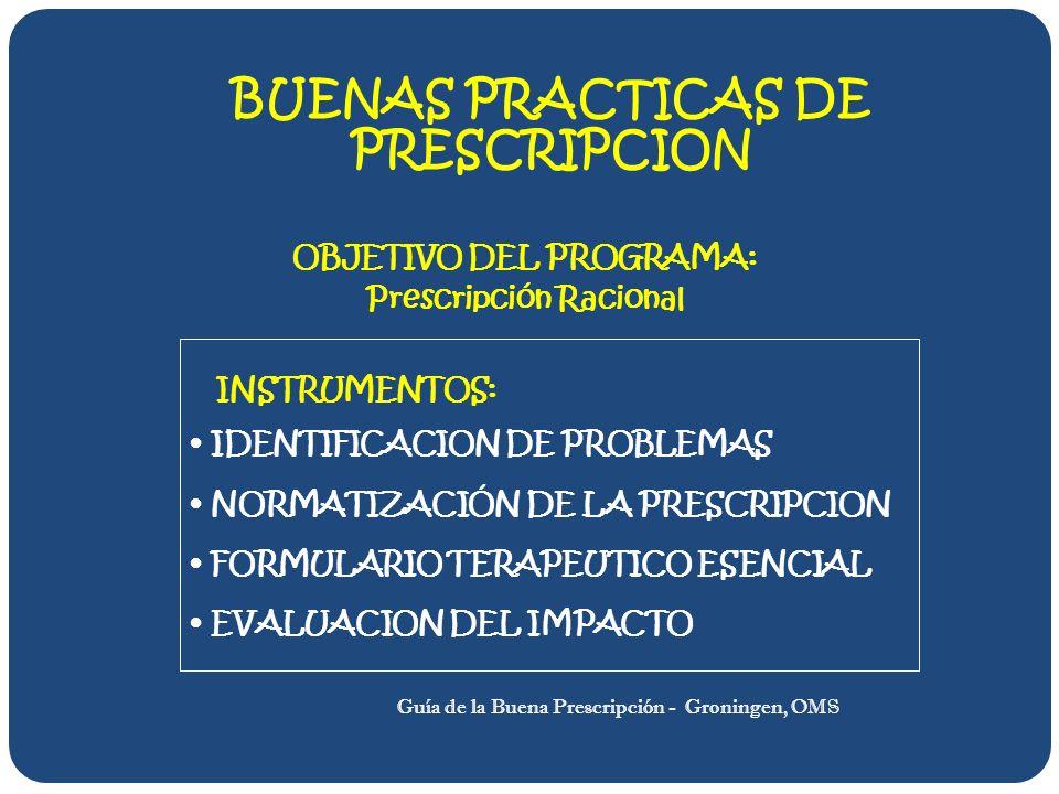 BUENAS PRACTICAS DE PRESCRIPCION OBJETIVO DEL PROGRAMA: Prescripción Racional INSTRUMENTOS: IDENTIFICACION DE PROBLEMAS NORMATIZACIÓN DE LA PRESCRIPCION FORMULARIO TERAPEUTICO ESENCIAL EVALUACION DEL IMPACTO Guía de la Buena Prescripción - Groningen, OMS