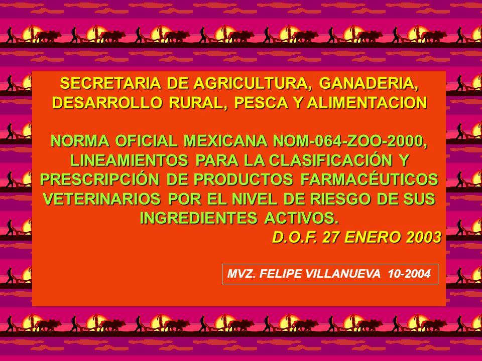 SECRETARIA DE AGRICULTURA, GANADERIA, DESARROLLO RURAL, PESCA Y ALIMENTACION NORMA OFICIAL MEXICANA NOM-064-ZOO-2000, LINEAMIENTOS PARA LA CLASIFICACI