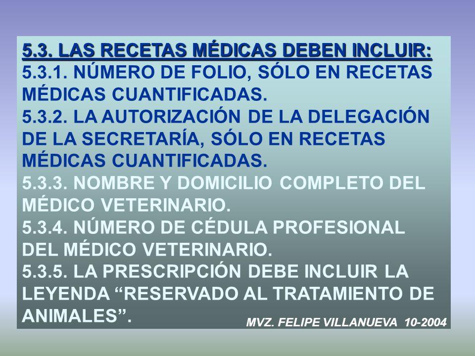 5.3. LAS RECETAS MÉDICAS DEBEN INCLUIR: 5.3.1. NÚMERO DE FOLIO, SÓLO EN RECETAS MÉDICAS CUANTIFICADAS. 5.3.2. LA AUTORIZACIÓN DE LA DELEGACIÓN DE LA S