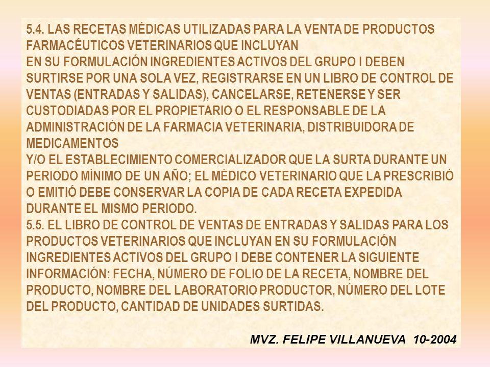 5.4. LAS RECETAS MÉDICAS UTILIZADAS PARA LA VENTA DE PRODUCTOS FARMACÉUTICOS VETERINARIOS QUE INCLUYAN EN SU FORMULACIÓN INGREDIENTES ACTIVOS DEL GRUP