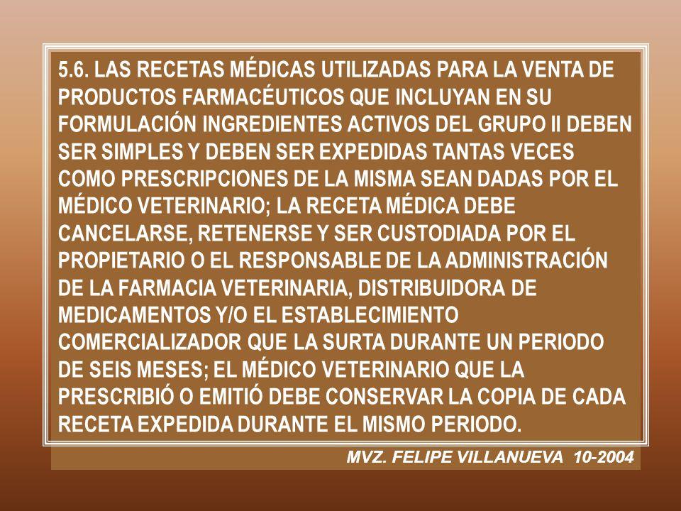 5.6. LAS RECETAS MÉDICAS UTILIZADAS PARA LA VENTA DE PRODUCTOS FARMACÉUTICOS QUE INCLUYAN EN SU FORMULACIÓN INGREDIENTES ACTIVOS DEL GRUPO II DEBEN SE