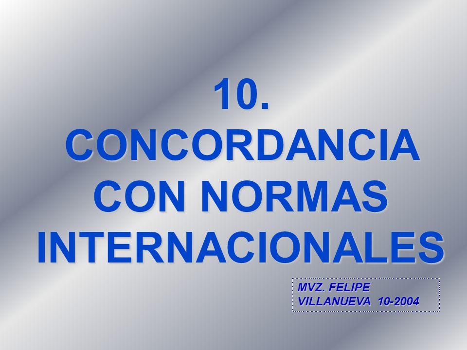 10. CONCORDANCIA CON NORMAS INTERNACIONALES MVZ. FELIPE VILLANUEVA 10-2004