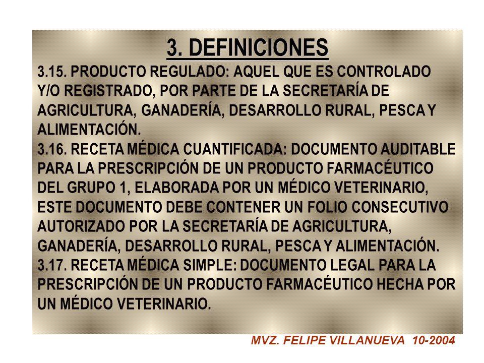 3. DEFINICIONES 3.15. PRODUCTO REGULADO: AQUEL QUE ES CONTROLADO Y/O REGISTRADO, POR PARTE DE LA SECRETARÍA DE AGRICULTURA, GANADERÍA, DESARROLLO RURA