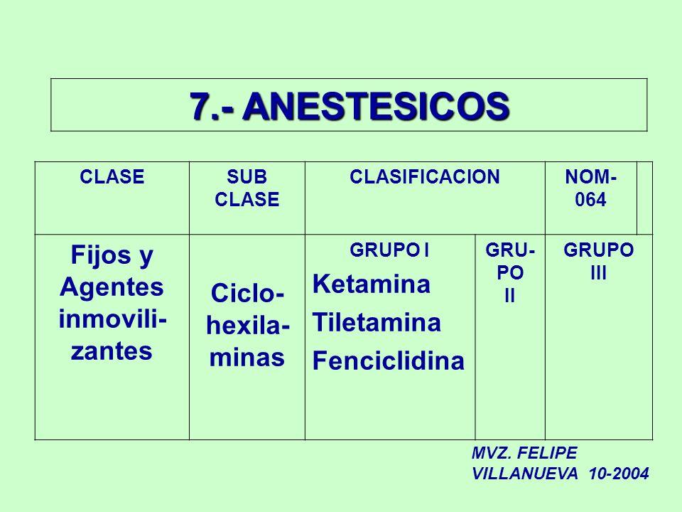 7.- ANESTESICOS CLASESUB CLASE CLASIFICACIONNOM- 064 Fijos y Agentes inmovili- zantes Ciclo- hexila- minas GRUPO I Ketamina Tiletamina Fenciclidina GR