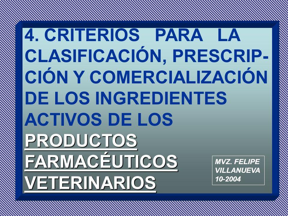 PRODUCTOS FARMACÉUTICOS VETERINARIOS 4. CRITERIOS PARA LA CLASIFICACIÓN, PRESCRIP- CIÓN Y COMERCIALIZACIÓN DE LOS INGREDIENTES ACTIVOS DE LOS PRODUCTO