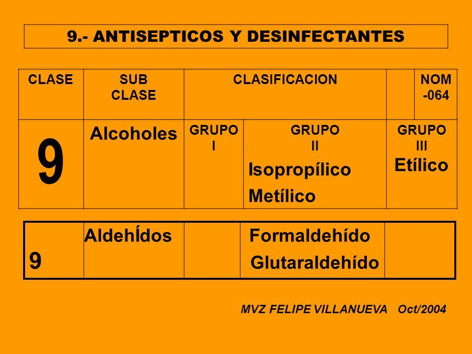 9.- ANTISEPTICOS Y DESINFECTANTES CLASESUB CLASE CLASIFICACIONNOM -064 9 Alcoholes GRUPO I GRUPO II Isopropílico Metílico GRUPO III Etílico AldehÍdos