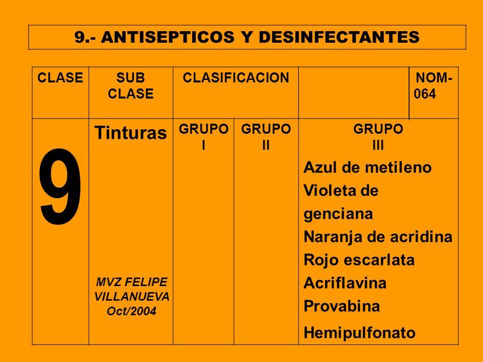 9.- ANTISEPTICOS Y DESINFECTANTES CLASESUB CLASE CLASIFICACION NOM- 064 9 Tinturas GRUPO I GRUPO II GRUPO III Azul de metileno Violeta de genciana Nar