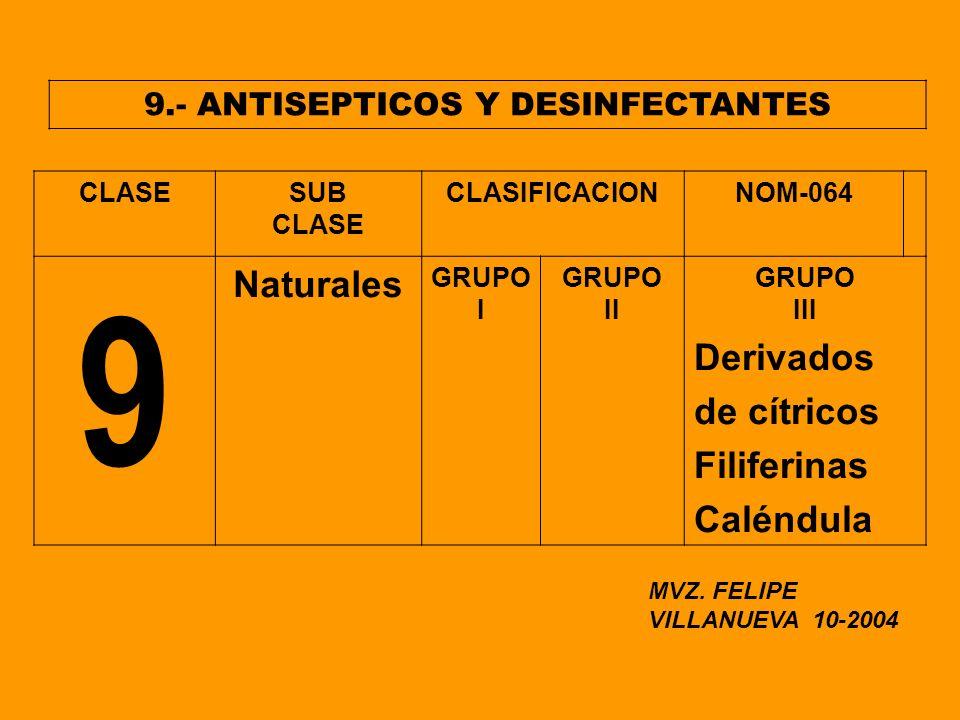 9.- ANTISEPTICOS Y DESINFECTANTES CLASESUB CLASE CLASIFICACIONNOM-064 9 Naturales GRUPO I GRUPO II GRUPO III Derivados de cítricos Filiferinas Caléndu