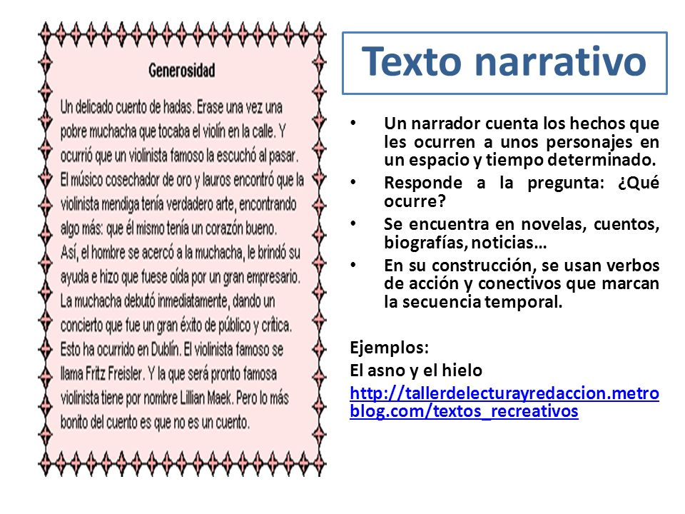 Texto narrativo Un narrador cuenta los hechos que les ocurren a unos personajes en un espacio y tiempo determinado.