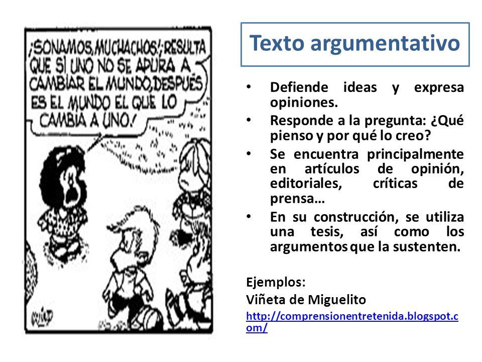 Texto argumentativo Defiende ideas y expresa opiniones. Responde a la pregunta: ¿Qué pienso y por qué lo creo? Se encuentra principalmente en artículo