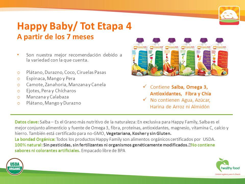 Happy Baby/ Tot Etapa 4 A partir de los 7 meses Son nuestra mejor recomendación debido a la variedad con la que cuenta. o Plátano, Durazno, Coco, Ciru