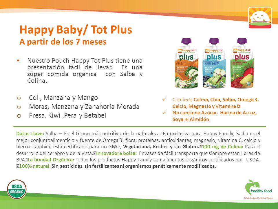 Nuestro Pouch Happy Tot Plus tiene una presentación fácil de llevar. Es una súper comida orgánica con Salba y Colina. o Col, Manzana y Mango o Moras,