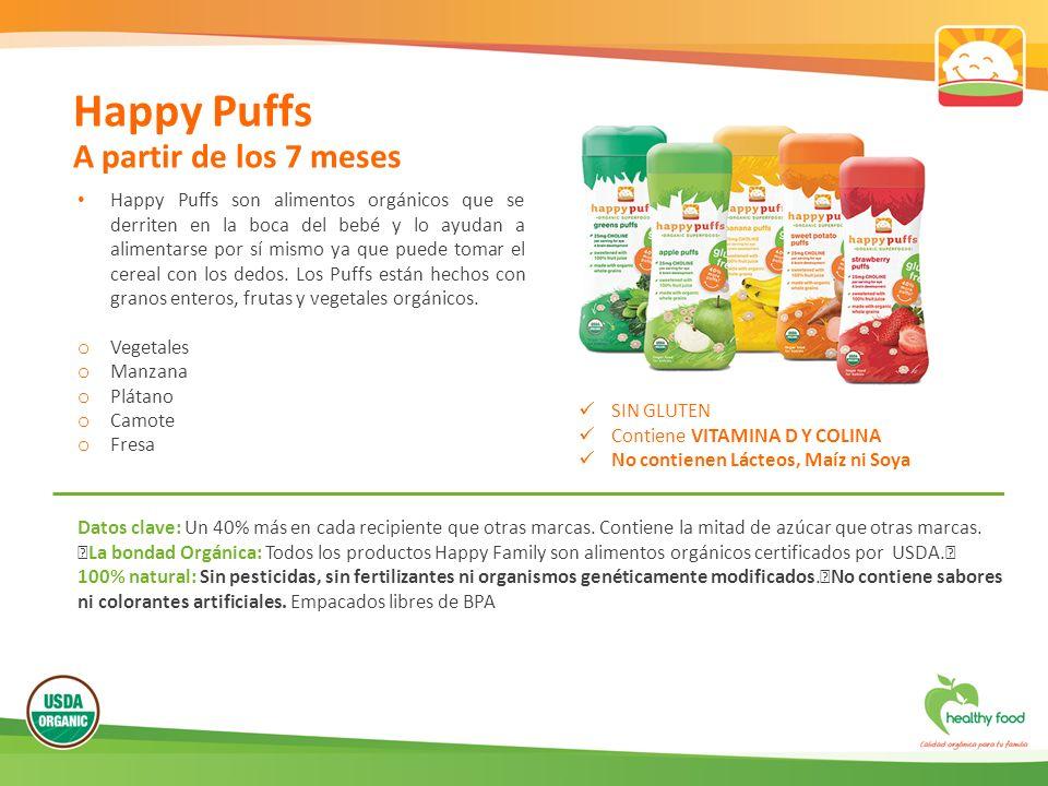 Happy Puffs son alimentos orgánicos que se derriten en la boca del bebé y lo ayudan a alimentarse por sí mismo ya que puede tomar el cereal con los dedos.