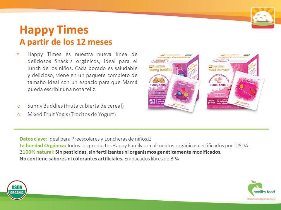 Happy Times es nuestra nueva línea de deliciosos Snack´s orgánicos, ideal para el lunch de los niños.