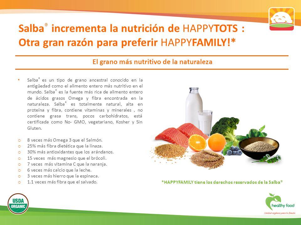 Salba ® incrementa la nutrición de HAPPYTOTS : Otra gran razón para preferir HAPPYFAMILY!* El grano más nutritivo de la naturaleza Salba ® es un tipo