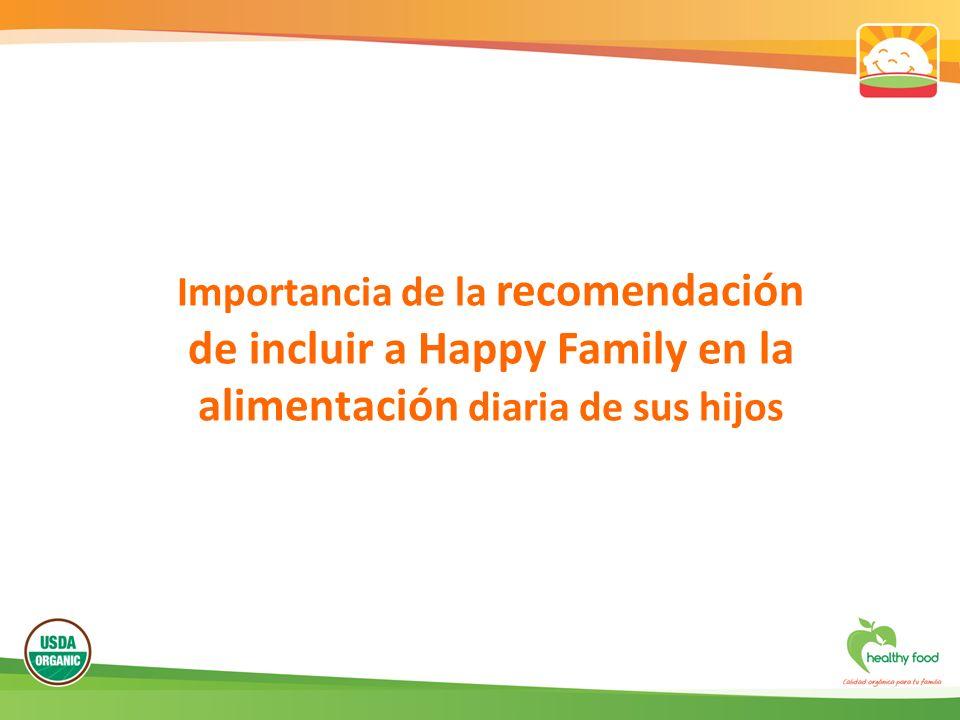 Importancia de la recomendación de incluir a Happy Family en la alimentación diaria de sus hijos