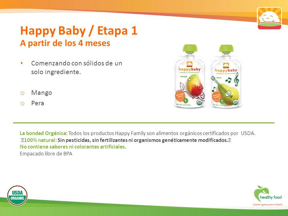 Comenzando con sólidos de un solo ingrediente. o Mango o Pera Happy Baby / Etapa 1 A partir de los 4 meses La bondad Orgánica: Todos los productos Hap