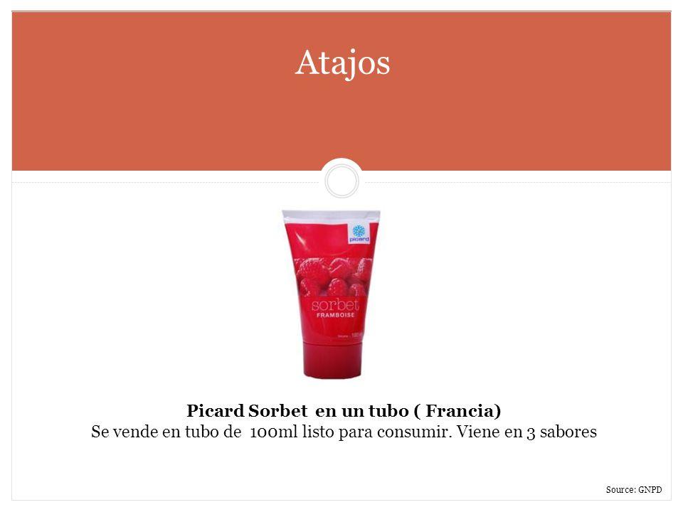 Atajos Picard Sorbet en un tubo ( Francia) Se vende en tubo de 100ml listo para consumir. Viene en 3 sabores Source: GNPD