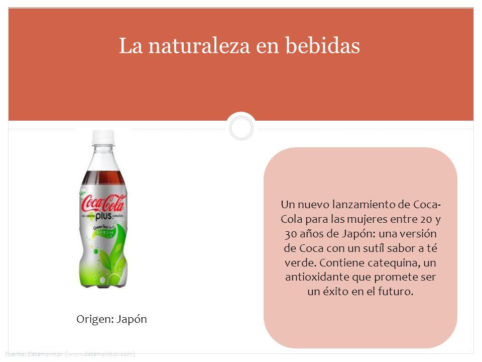 Un nuevo lanzamiento de Coca- Cola para las mujeres entre 20 y 30 años de Japón: una versión de Coca con un sutíl sabor a té verde. Contiene catequina