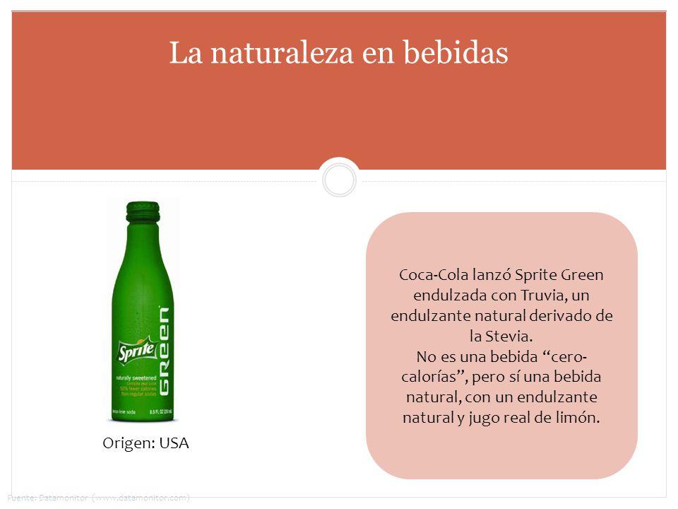 Coca-Cola lanzó Sprite Green endulzada con Truvia, un endulzante natural derivado de la Stevia. No es una bebida cero- calorías, pero sí una bebida na