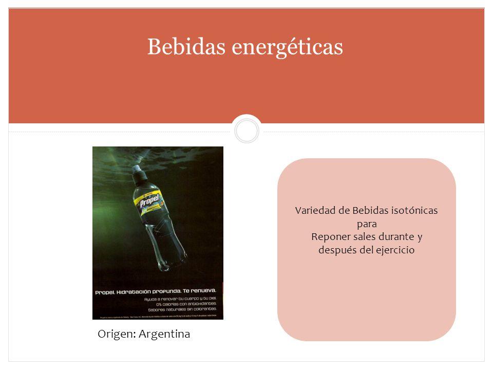 Bebidas energéticas Variedad de Bebidas isotónicas para Reponer sales durante y después del ejercicio Origen: Argentina
