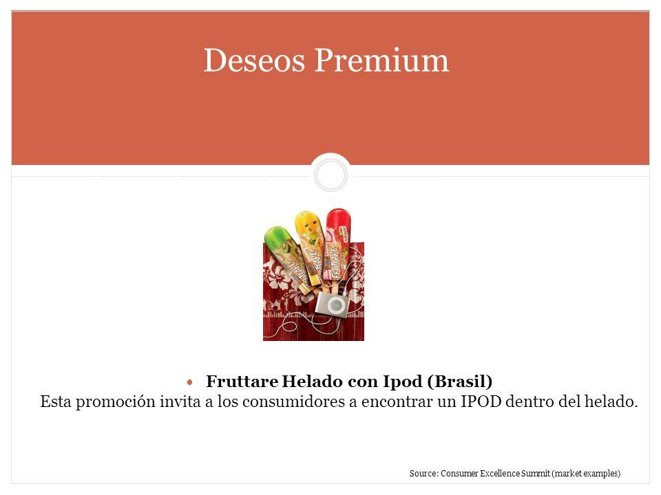 Deseos Premium Fruttare Helado con Ipod (Brasil) Esta promoción invita a los consumidores a encontrar un IPOD dentro del helado. Source: Consumer Exce