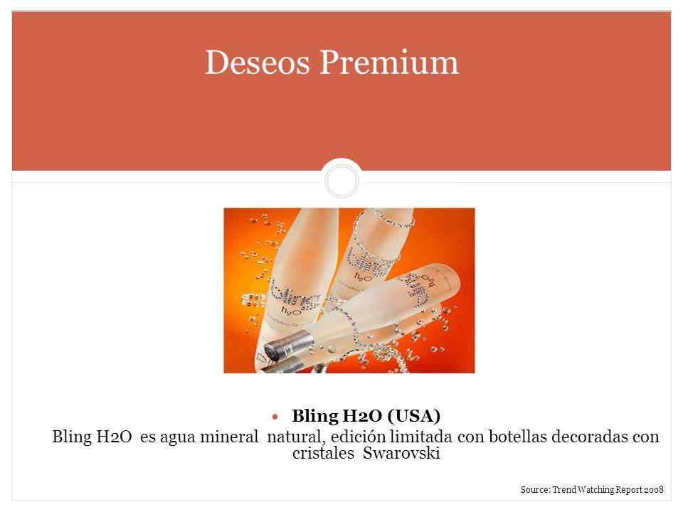 Deseos Premium Bling H2O (USA) Bling H2O es agua mineral natural, edición limitada con botellas decoradas con cristales Swarovski Source: Trend Watchi